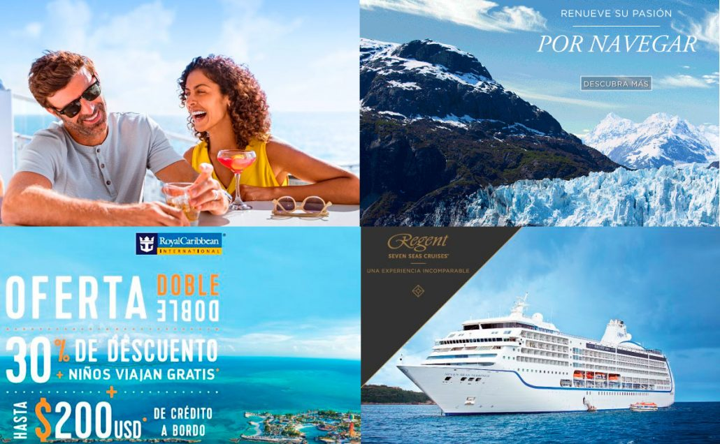 Promociones vigentes: Oceania Cruises, Regent Seven Seas Cruises, NCL, Royal Caribbean.