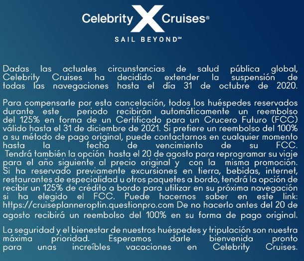 comunicado celebrity cruises
