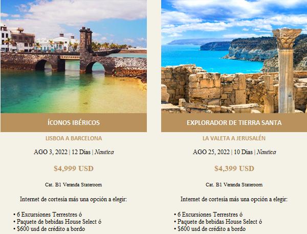 Promociones Vigentes de esta semana.  Celebrity Cruises, Ocean Cruises