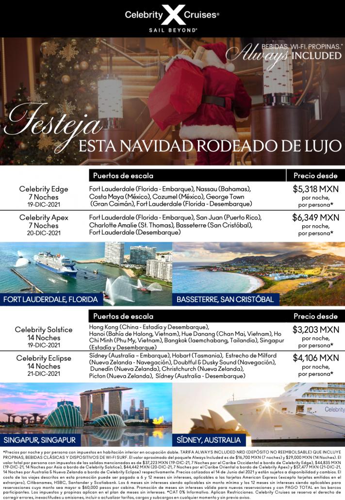 Festeja navidad con celebrity cruises